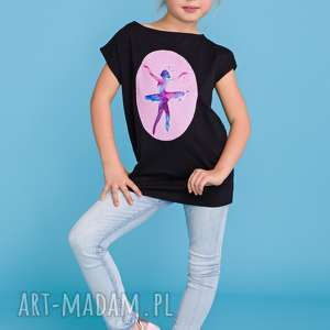 handmade bluzki letnia bluzeczka dla dziewczynki z aplikacją baleriny, czarny