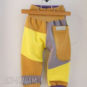 mimi monster only one no 47 - spodnie 80 cm miód lawenda, eco, recykling, prezent