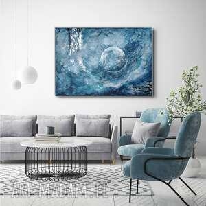 obraz ręcznie malowany o wypukłej fakturze - srebrzysty księżyc 100x70 cm