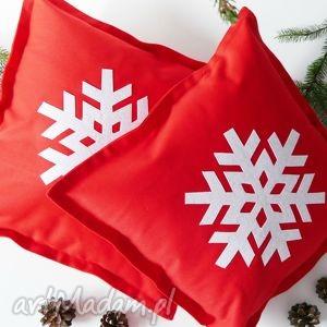 handmade pod choinkę komplet poduszek śnieżynki