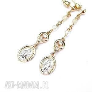 santa vol 6 /white/ 10 07 18 - kolczyki, medalik, metal, ki ka, perły