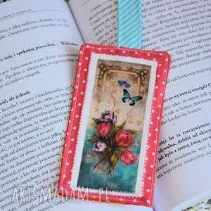 zakładka do książki - nasturcje / tulipany, zakładka, czytanie, szyta, bawełna