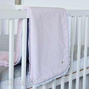 kocyk niemowlęcy do wózka różowy w groszki - kocyk-niemowlęcy