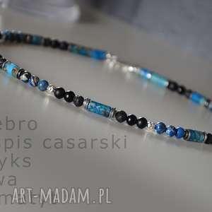 naszyjnik męski z niebieskim jaspisem, srebro, jaspis, lawa wulkaniczna, onyks