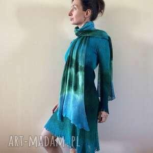Szal lniany zieleń&turkus szaliki anna damzyn szal, szalik, lniany, ręcznie barwiony,