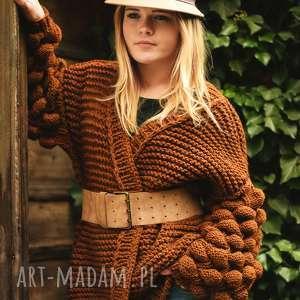 sweter cardigan bubble na drutach, sweterek, wełniany, ciepły, kardigam, chunky
