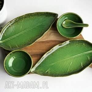 ceramika zestaw ceramiczny dla dwojga - 2 x talerz liść plus miseczka