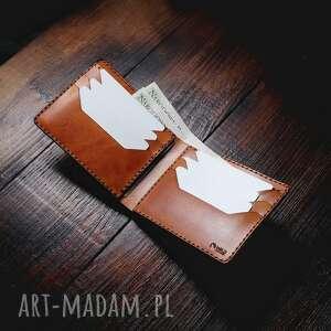 męski portfel skórzany koniakowy model poziomy, skórzany