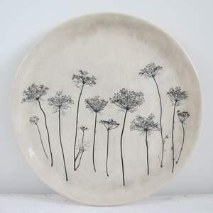 ręczne wykonanie ceramika talerz z roślinami baldachami