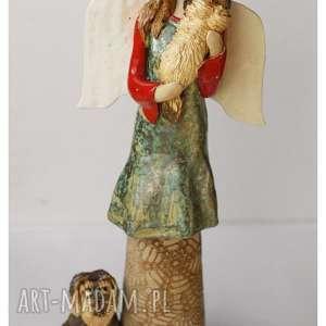 Aniołek z kundelkami, ceramika, anioł, pies
