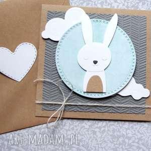 króliś maryś - kartka na roczek, urodzinki, narodziny, chrzest, chrzciny, roczek