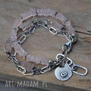 różowy kwarc bransoletka srebrna - srebro, kwarc, różowy
