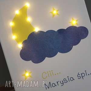 Świecący księżyc gwiazda imię lampa obraz led prezent