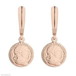 kolczyki z monetami z różowego złota - pozłacane medalion