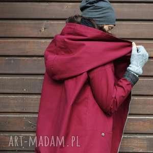 bordowy płaszcz, kurtka oversize ogromny kaptur na jesień zimę m, bordowa