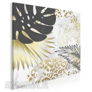 obraz na płótnie - liście złoty tropikalny w kwadracie 80x80 cm 89405