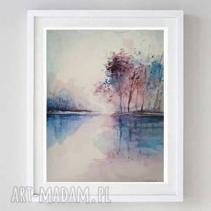 Akwarela-NAD WODĄ- format18/24 cm, akwarela, drzewa, papier, kredki
