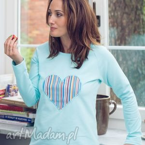 hand made bluzy bluza z sercem błękitna