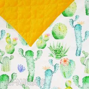ręczne wykonanie pokoik dziecka kocyk pikowany velvet cotton slim kaktusy/musztardowy