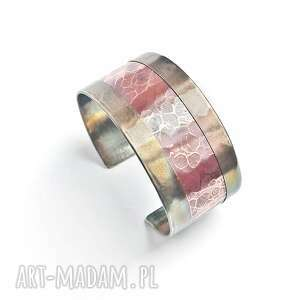 bransoleta z alpaki i miedzi, nowoczesna bransoleta, łączone materiały, miedź