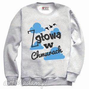 bluzy bluza z głową w chmurach , prezent, casual, nadruk, sweatshirt, melanż, szary