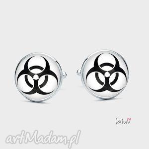 spinki do mankietów biohazard - prezent, znak, symbol, zagrożenie, grafika