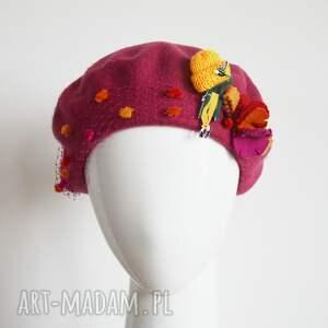 beret różowy (czapka, wełna, woalka)
