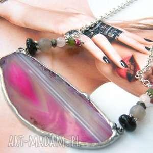 naszyjnik z agatem różowy - naszyjnik z agatem, kolorowy naszyjnik, naszyjnik z