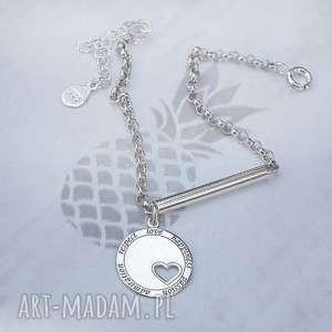 nowoczesna srebrna bransoletka z zawieszką, srebrna, srebro, 925, ze srebra