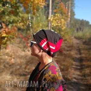 Czapka damska dresówka patchwork grochy paski czapki ruda klara