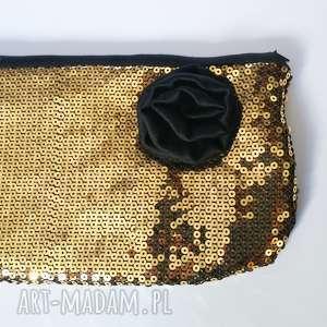 złota retro kosmetyczka z różą, cekiny, retro, vintage, kosmetyczka, kwiaty, duza