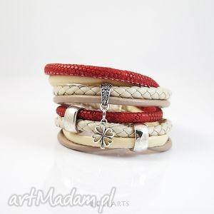 bransoletka - lucky beżowa, bordo rzemienie, owijana, bransoletka, owijana