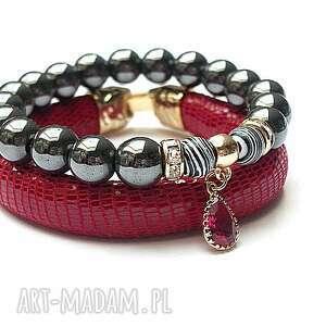 strap - red and graphite 09 03 15 - skóra, rzemień, szkło, hematyt, turkus