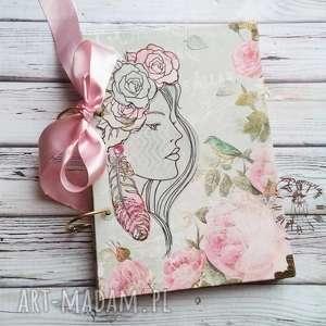 Prezent Stylowy Notes / Pamiętnik Różany Zapach tego Lata, kwiaty, róże, ptaszek