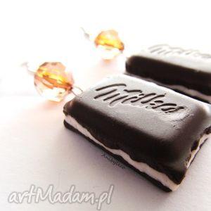 KOLCZYKI czekoladki śmietankowe, kolczyki, modelina, fimo, czekoladki, czekolada