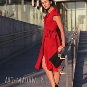 ręcznie zrobione sukienki bien fashion czerwona sukienka z kopertowym wiązaniem