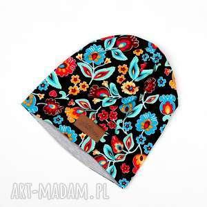 ręcznie zrobione czapki czapka beanie ciepła kolorowa folk folkowa łowicz
