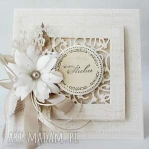 ręcznie zrobione scrapbooking kartki w dniu ślubu - w pudełku