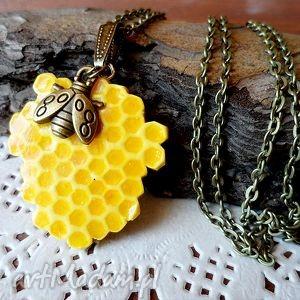 plaster miodu - naszyjnik - miód, pszczoła, plaster, fimo
