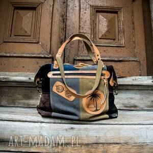 podróżne wygodna welurowa torebka z długim paskiem na ukos, ręcznie wykonana