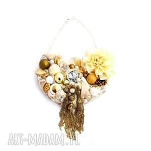 go gold naszyjnik handmade, naszyjnik, złoty, beż, ecru