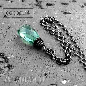 Cocopunk. Naszyjnik kropla - srebro i kwarc miętowy