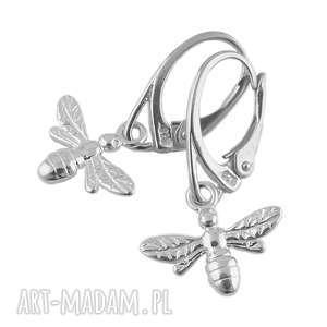 srebrne kolczyki pszczoły, srebrne, kolczyki, owad, wiszące