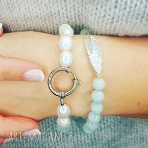 cudowne bransoletki piórko i perły naturalne, komplet, perły, dewizka, mięta