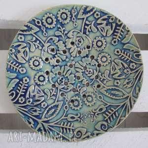 ceramika nieregularna folkowa mydelniczka, na mydło, ceramiczna