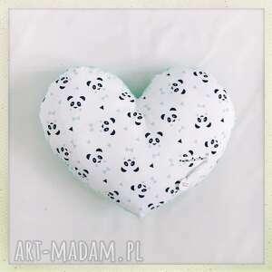 poduszka serce pandy - pandy, serce, mięta