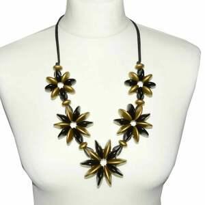 czarno-złote korale drewniane ze stalą szlachetną, czarne korale, złoty