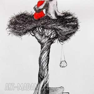 praca piórkiem z dodatkiem akwareli w gnieździe artystki plastyka adriany laube