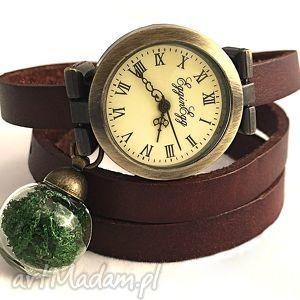 prawdziwy mech - zegarek bransoletka na skórzanym pasku - skórzana