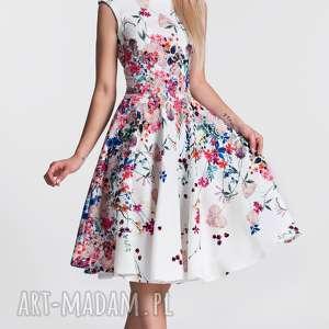 Sukienka SCARLETT Midi Otylia, kwiaty, midi, koło, plecy, rozkloszowana, wesele
